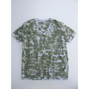 V Neck T-Shirt DKNY Tee Shirt Tie Dye Camouflage L